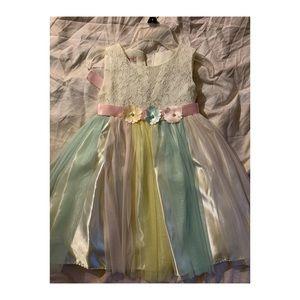 Girls Rainbow Floral Tulle Dress 👗✨💞